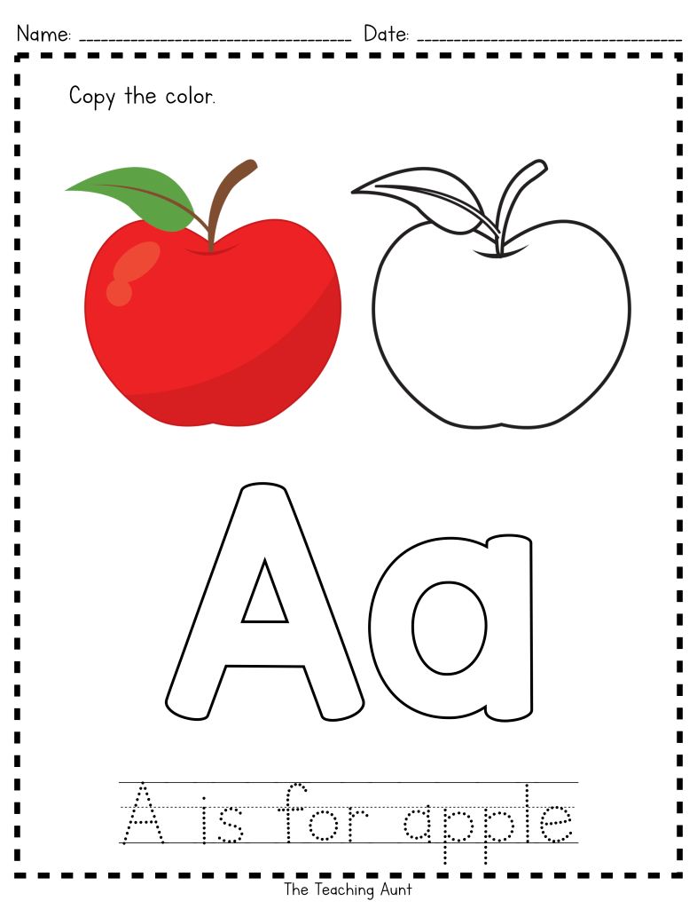 A is for Apple Paper Pasting Activity Preschool apple