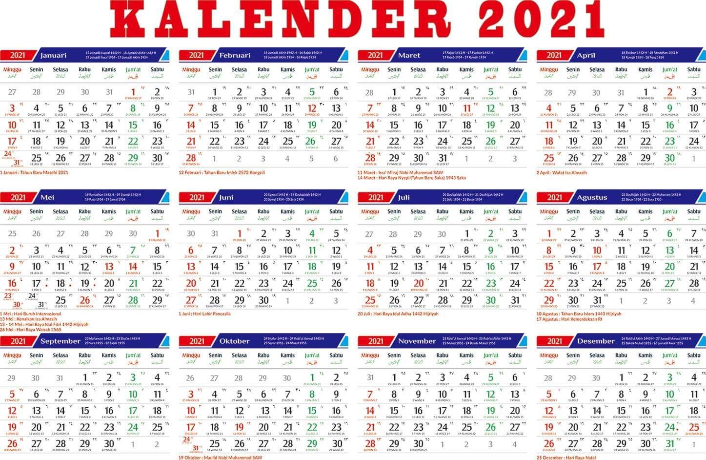 Kalender Libur Nasional Indonesia Tahun 2021 Kalender Liburan