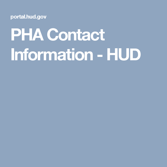 Pha Contact Information Hud Contacts Senior Living Personal Finance