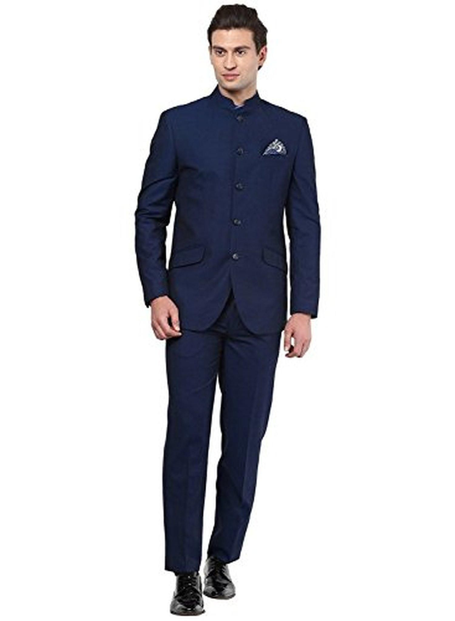 Mens Black Nehru Grandad Collar Suit Ideal For Wedding 36 Jacket 30 Trouser Navy Blue Brought To You By Avarsha
