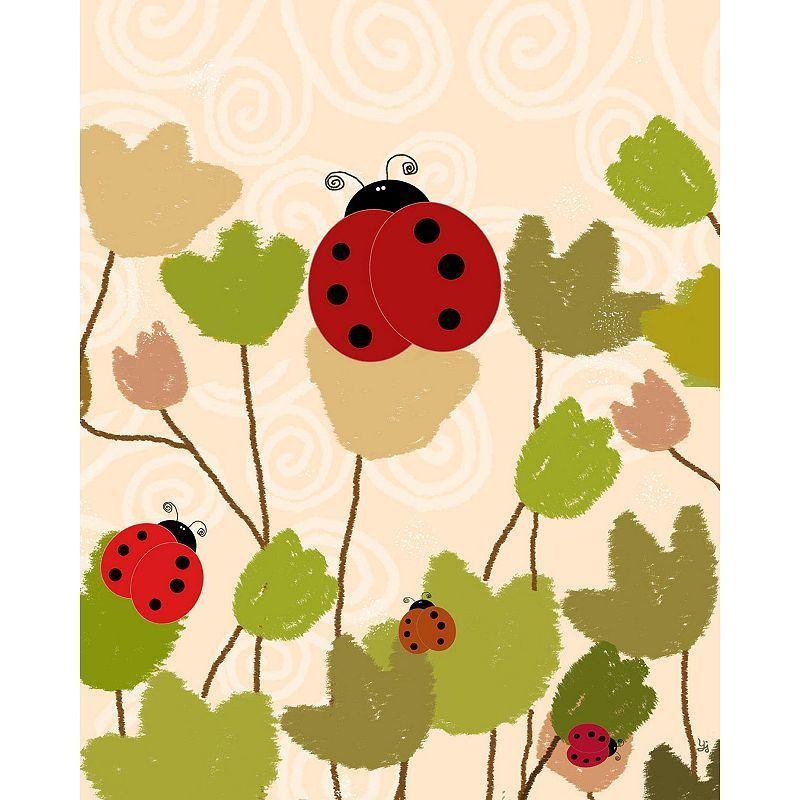 Green Leaf Art Ladybugs & Bees Canvas Wall Art, Pink   Leaf art ...
