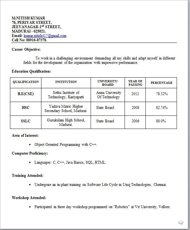 resume format models