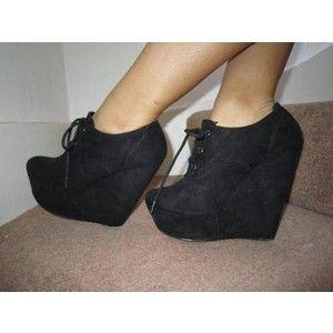 2e69d2a8ea16 Miss Selfridge Black Lace Up Closed Toe Wedges Shoes Stilett ...