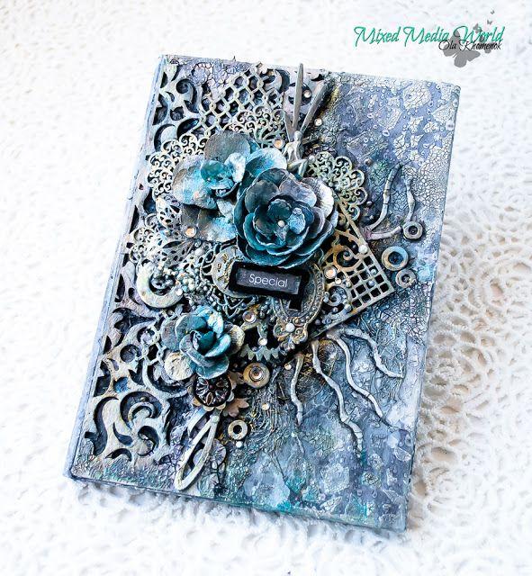 LikeArtStudio by Ola Khomenok: Mixed Media World challenge. Frozen notebook