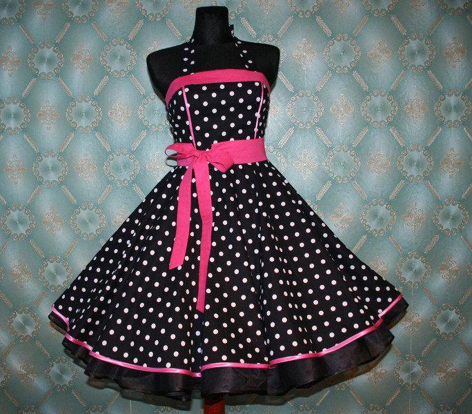 50's vintage dress full skirt black white