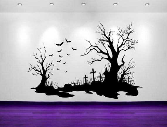 spooky halloween cemetery scene bats tombstones decorations wall decal sticker vinyl wall home holiday decor tim burton gothic - Halloween Wall Decor
