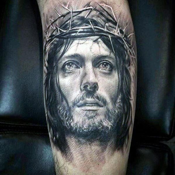 White Ink Guys 3d Jesus Portrait Arm Tattoo # ...