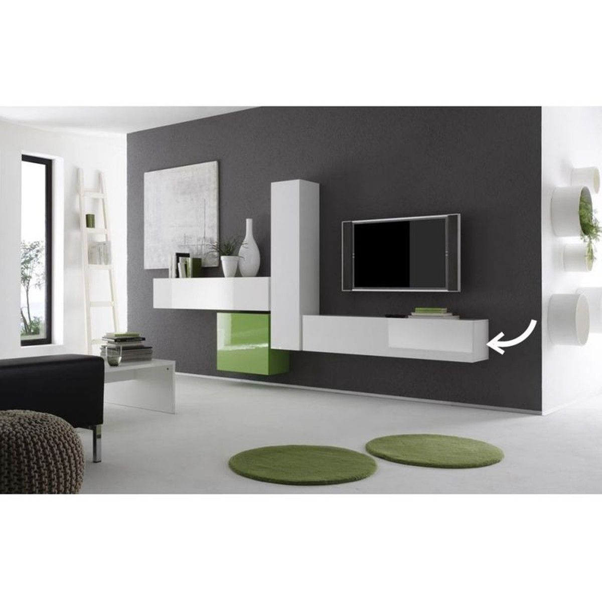 Meuble Tv Design Colored V2 Element Horizontal Meuble Tv Colonne  # Meuble Mural Design