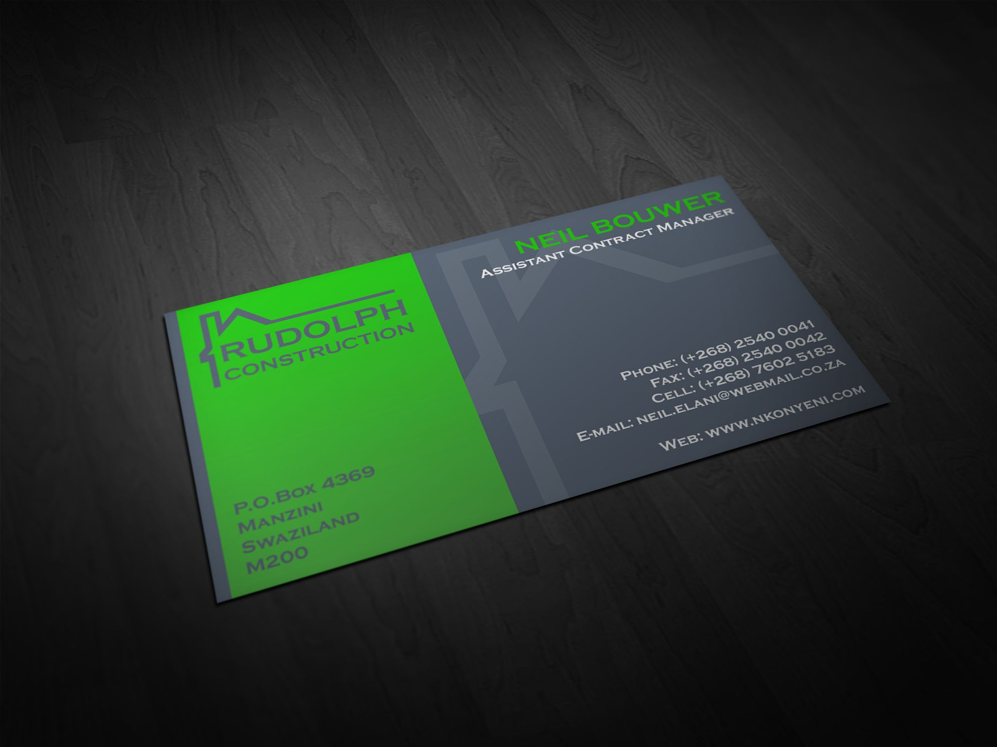 Rudolph Construction Business Card Construction Business