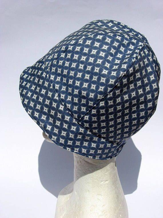 Summer hat cloche, blu-white, light cotton fabric, elegant romantic ...