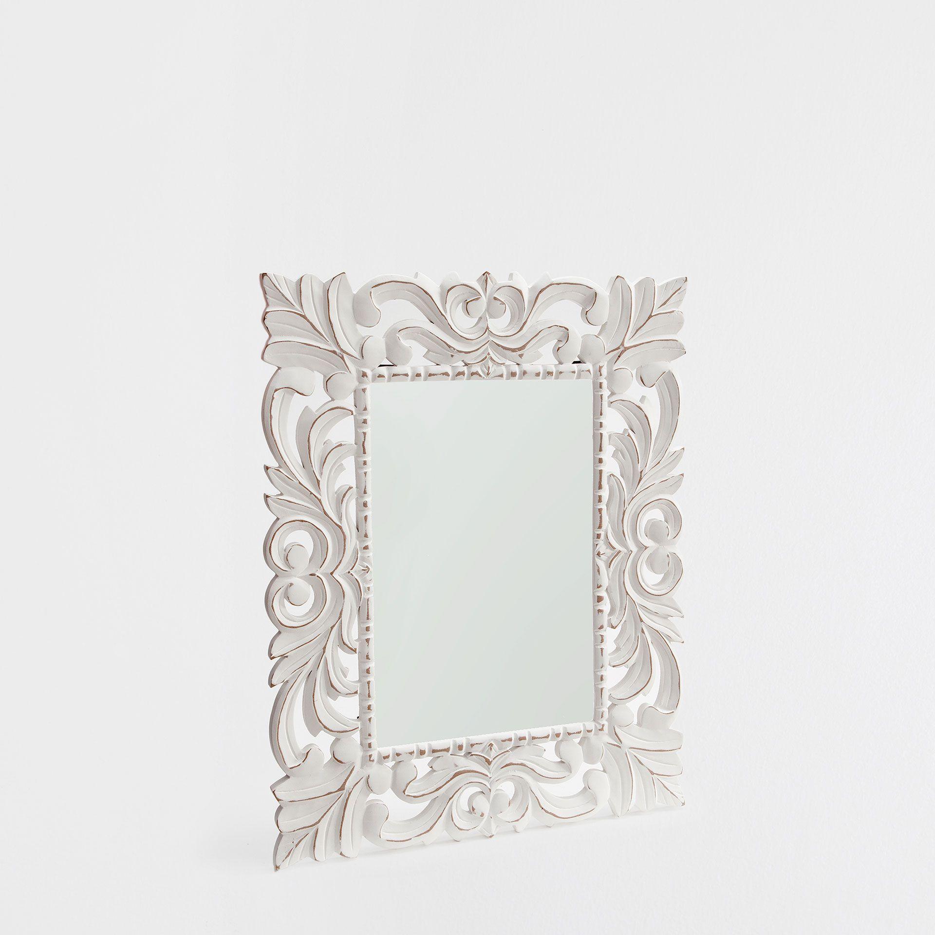miroir blanc bois ajour miroirs d coration zara. Black Bedroom Furniture Sets. Home Design Ideas