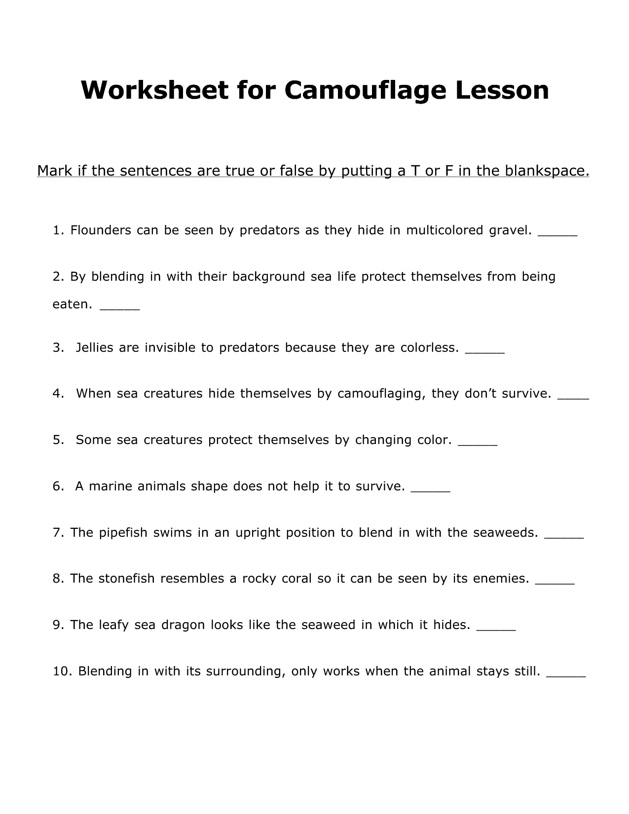 Worksheet Camouflage