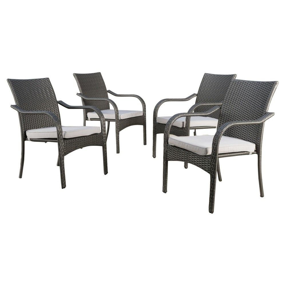 Good San Pico Set Of 4 Wicker Stacking Chairs   Gray   Christopher Knight Home