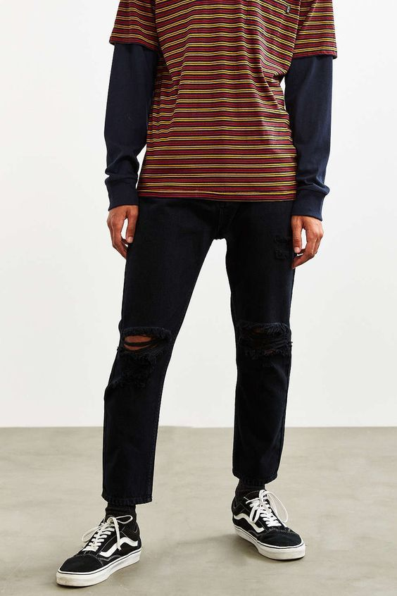 Mens Black Striped Shirt