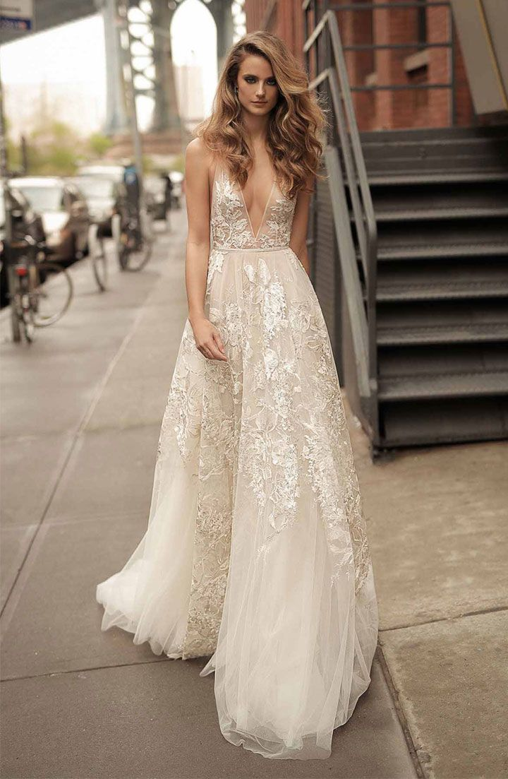 Berta wedding gown v neck and full embellishment sexy elegant wedding dress #weddingdress #weddinggown #weddingdresses ,a line wedding dresswedding dresses ,wedding gowns