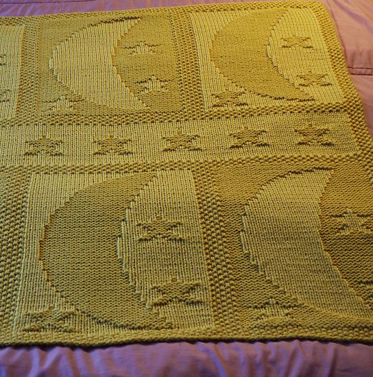 48eb2199bb9e Free Knitting Pattern for Moon and Stars Baby Blanket