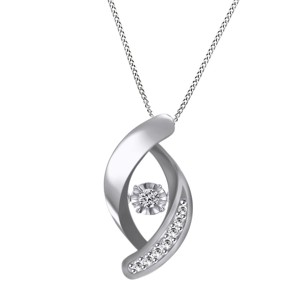 "ROUND VVS1 DIAMAND PLATINUM PLATED MARQUISE DANCING PENDANT W/18"" CHAIN #AffinityHomeShopping #Pendant"