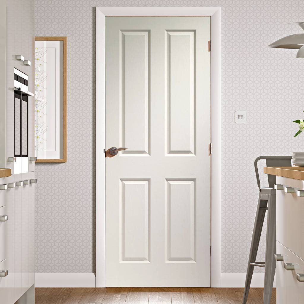 Victorian 4 Panel Door With Woodgrained Surfaces Is White