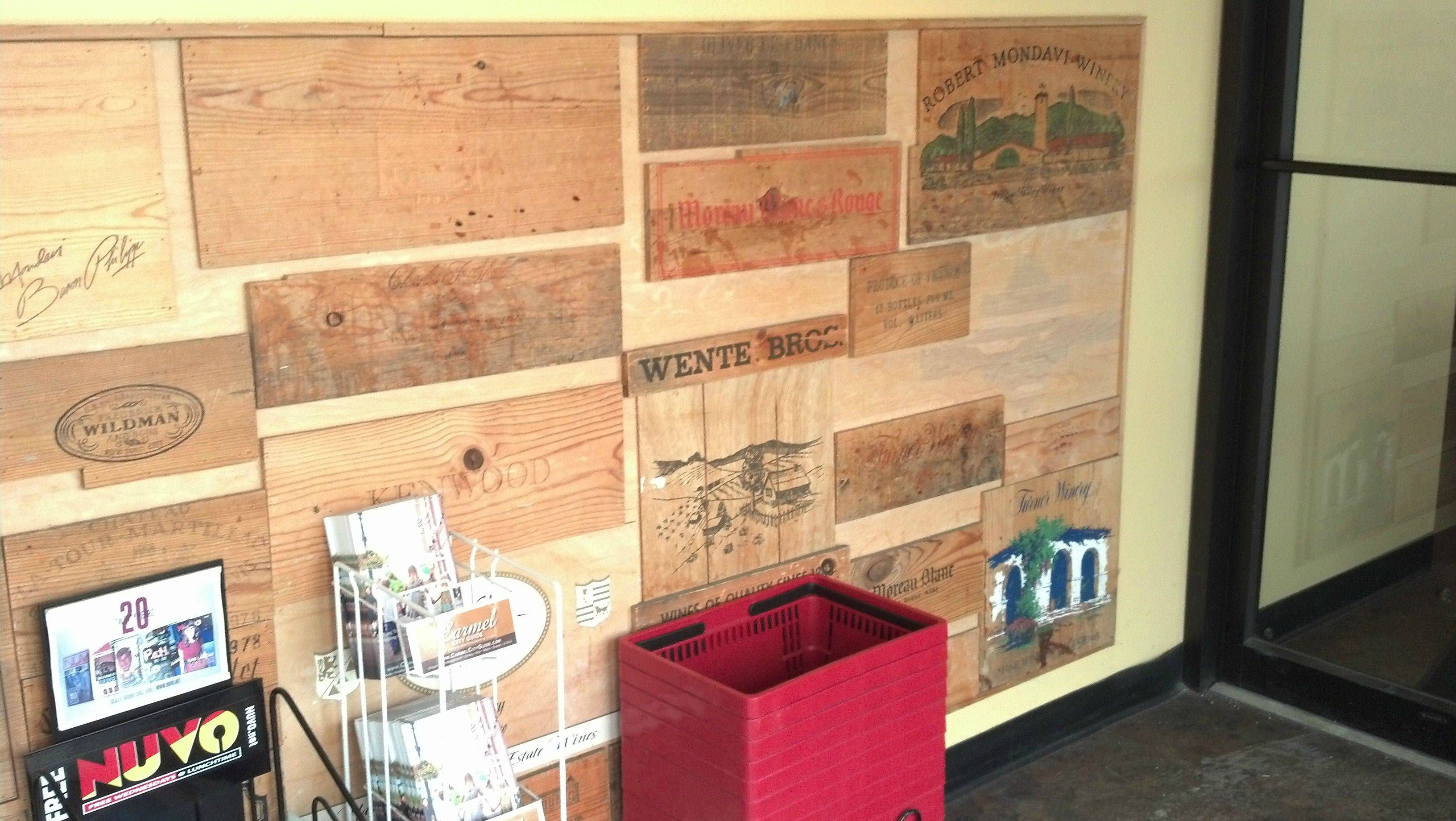 Wine crate wall at work. - Imgur | Kitchen | Pinterest | Crates and ...