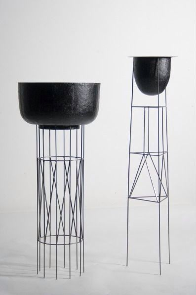Tall Metal Geometric Style Planter Stand Home Decor