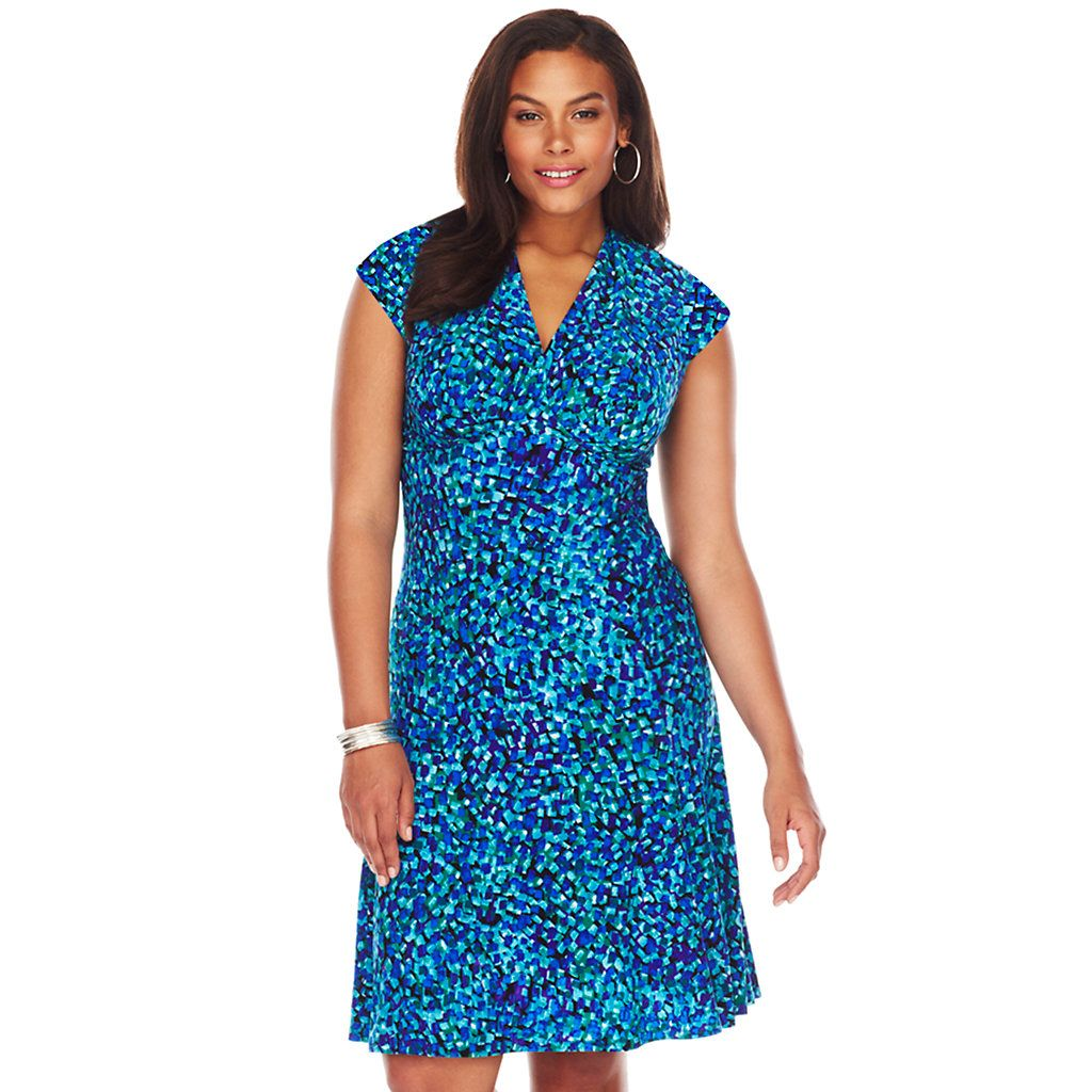 Plus Size Chaps Printed Empire Dress | Clothing | Kohls ...
