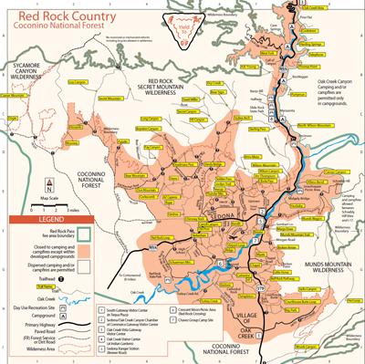 Map Of Arizona Sedona.Map Of Sedona Arizona Area Hiking Sedona Hiking Trails Map