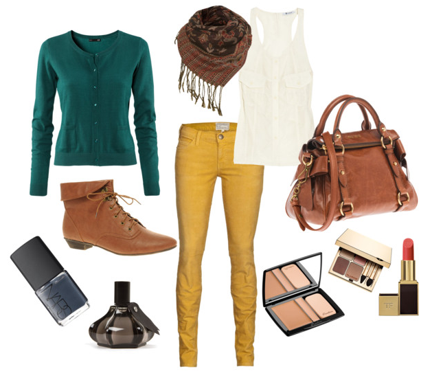 Teal cardigan, mustard yellow pants, tan booties, cream tank, dark scarf. I need all of this in my life!