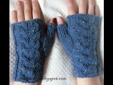 Cómo tejer mitones o guantes sin dedos. - YouTube | Guantes ...