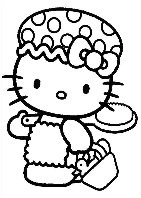 Hello Kitty Prepares To Go Take A Shower Hello Kitty Coloring