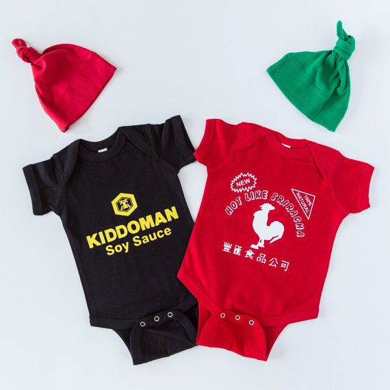 Awesome Sauce Value Pack   Unique Baby Shower Gift Combo   Funny Baby  Outfits   Sriracha And Soy Sauce Baby Outfits With Matching Hats