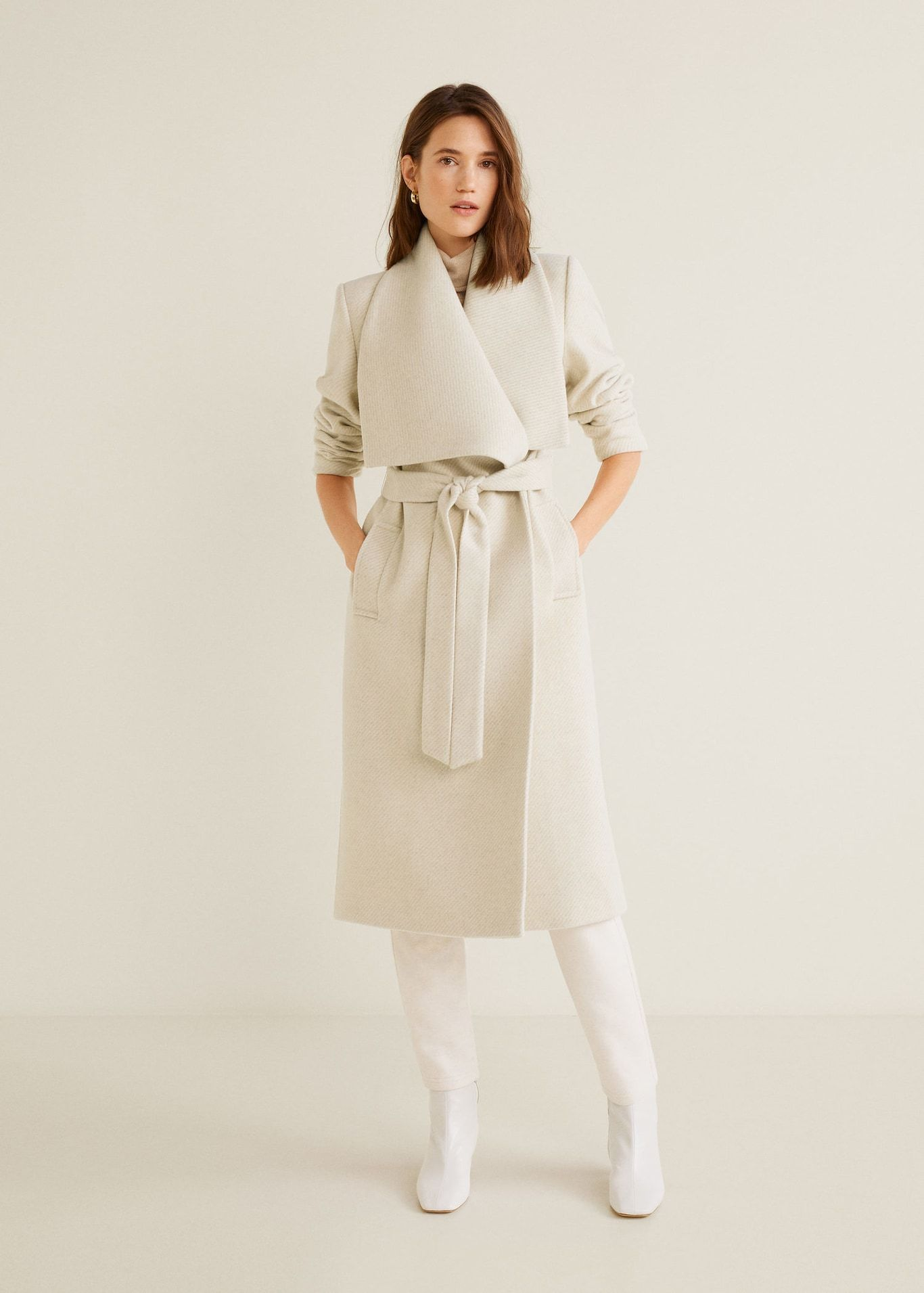 Wide Lapel Wool Blend Coat Women Mango Usa Coats For Women Wrap Coat Wool Blend Coat [ 1911 x 1366 Pixel ]