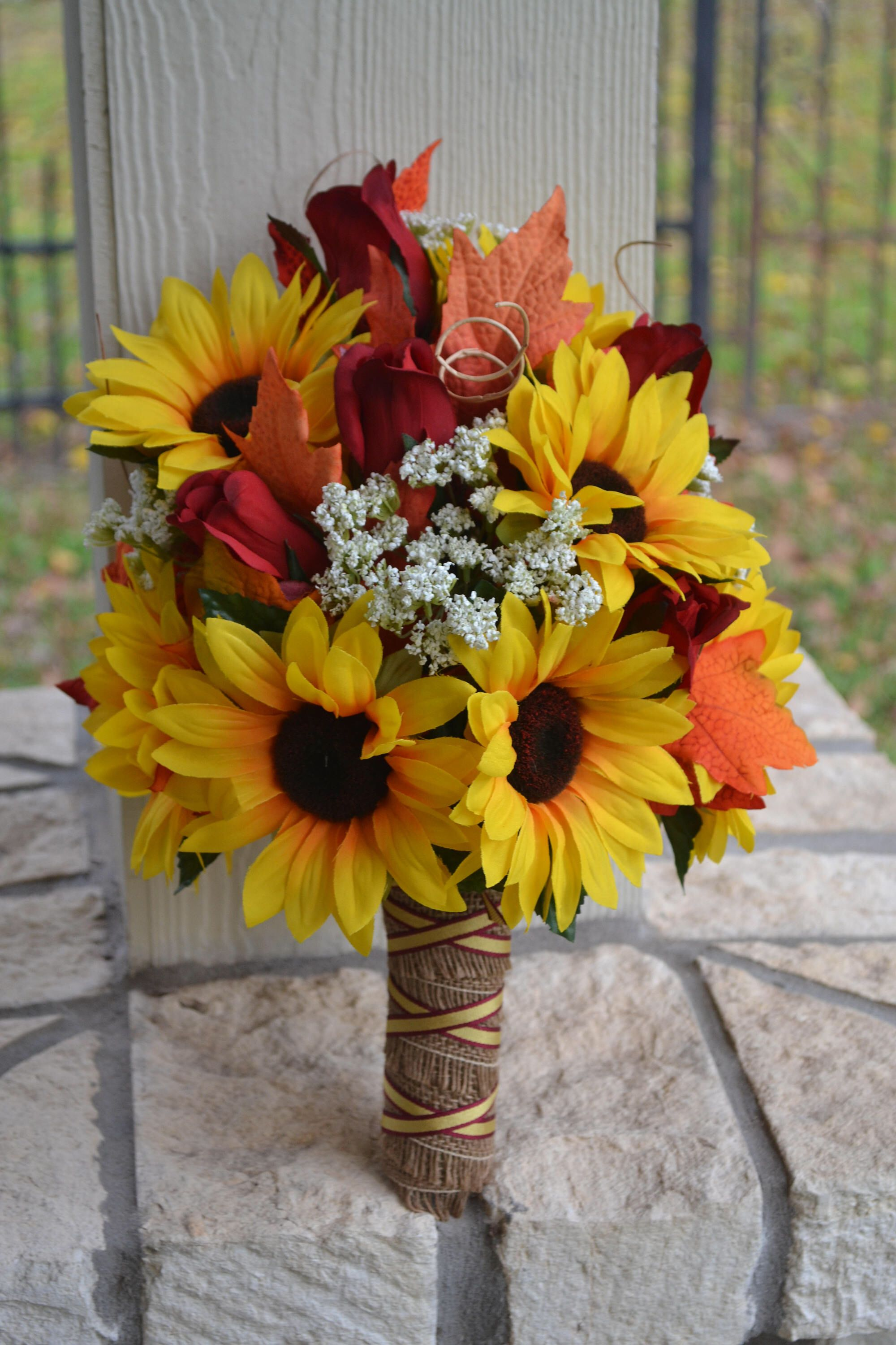 Cascading Fall Wedding Bouquet In Burgundy And Sunflowers Sunflower Themed Wedding Sunflower Wedding Bouquet Cascading Wedding Bouquets
