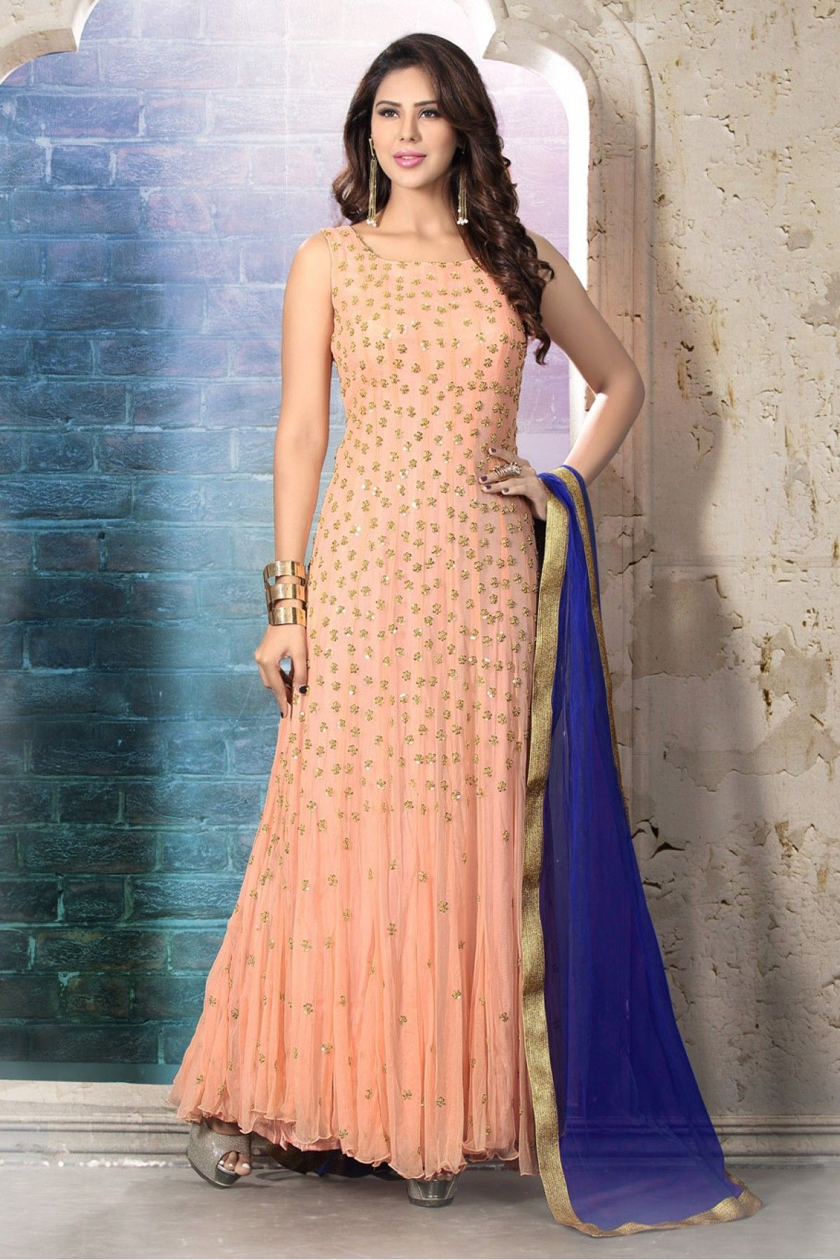 8a73019019 Peach Colour Net Fabric Party Wear Semi Stitched Anarkali Suit Comes With  Matching Bottom and Dupatta. This Suit Is Crafted With Cut Dana