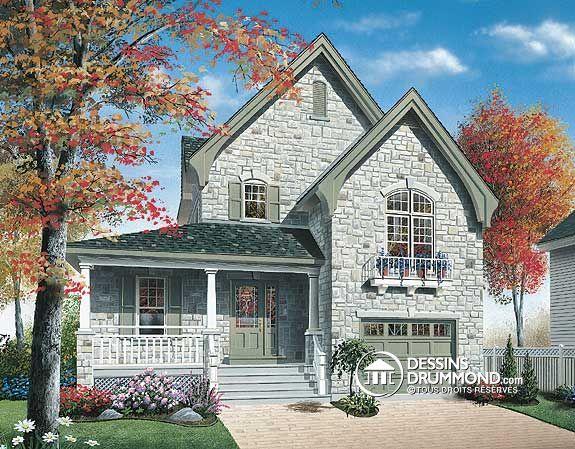 Plan de maison unifamiliale w3407 cottage champ tre de for Facade maison originale