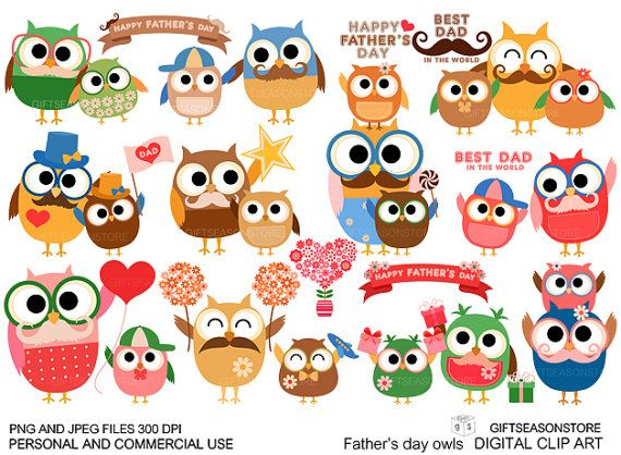 Father's day owl Digital clip art for Personal by Giftseasonstore