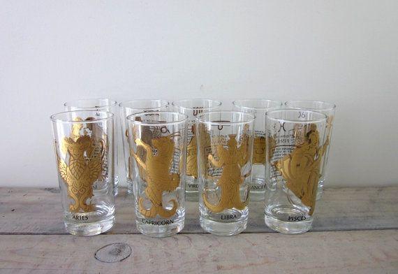 Vintage Zodiac Astrology Cocktail Glasses With Gold Trim Set Etsy Cocktail Glasses Patterned Glassware Vintage