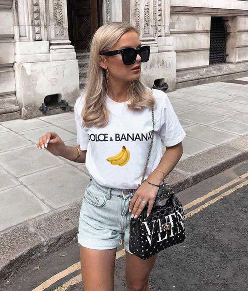 Dolce And Banana Bananas Fashion Blogger Funny Graphic T Shirt Etsy Summer Outfits Black Women Fashion Denim Women