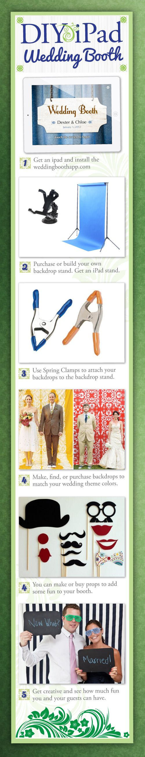 DIY Wedding Photo Booth. Such a cute idea! Gives you tons of options for backdrops too.