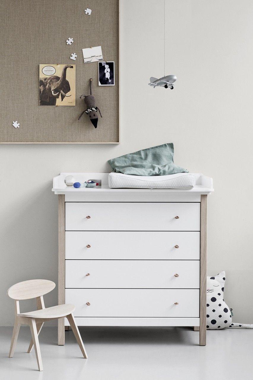Oliver Furniture Kommode Wood 4 Schubladen Weiß / Eiche