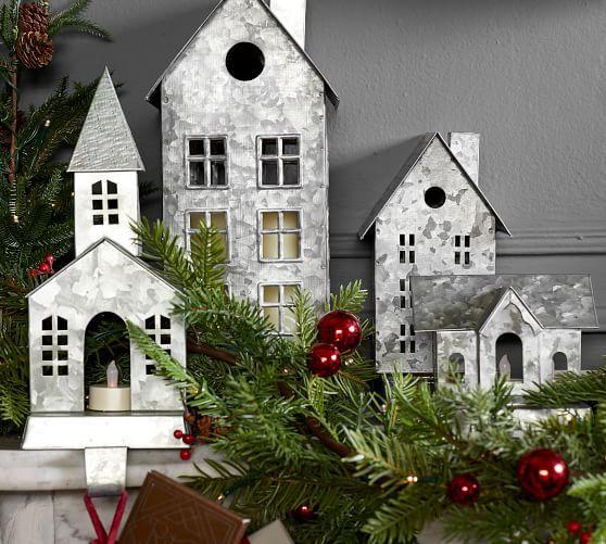 Galvanized Village Houses Christmas Village Houses Diy Christmas Village Pottery Barn Christmas