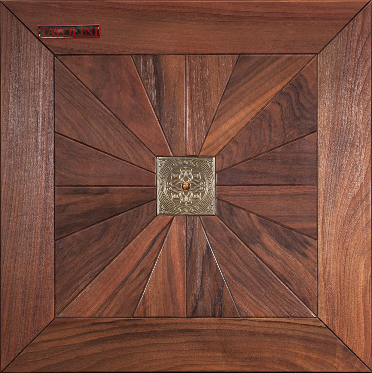 Intarsia Inlaid In The Wood Elements Made Of Metal Marble