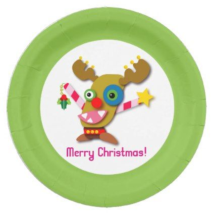 Candy Cane Reindeer Christmas Cartoon Paper Plate - home decor design art diy cyo custom  sc 1 st  Pinterest : candy cane paper plates - pezcame.com