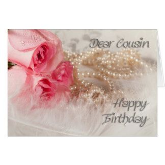 Zero Touriste For Cousin Happy Birthday Roses And Pearls Card