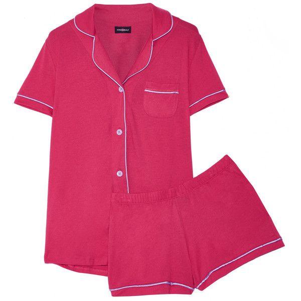 Cosabella - Bella Pima Cotton And Modal-blend Pajama Set (520 NOK) ❤ liked on Polyvore featuring intimates, sleepwear, pajamas, bright pink, cosabella sleepwear, cosabella pajamas, cosabella pjs, cosabella lingerie and cosabella