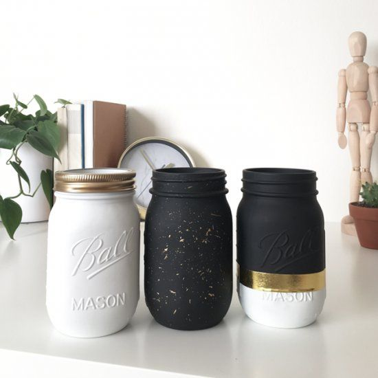 Let S Bring Mason Jars Back With This Modern Diy Using Gold Black And White Great As Gifts Or To Keep For Your Black And Gold Bathroom Mason Jar Diy Projects