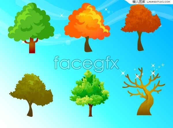 Four Seasons Trees And Fantasy Backgrounds Vector For Free Download