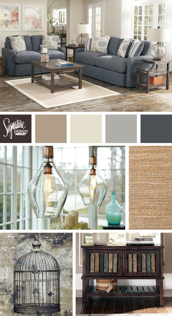 blues and neutrals for the living room addison sofa ashley rh pinterest com