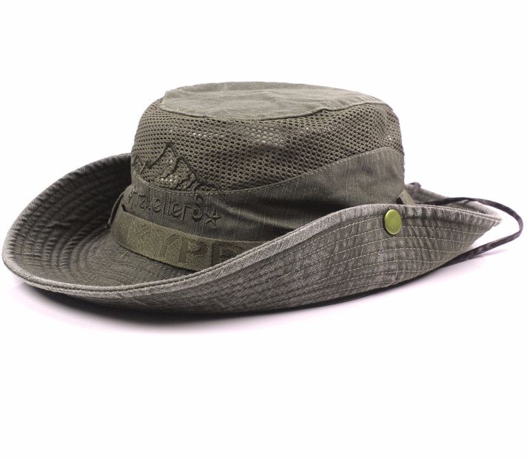 mens summer cotton embroidery visor bucket hats fisherman hat outdoor climbing mesh sunshade cap is designer shop on newchic to see other on sale men