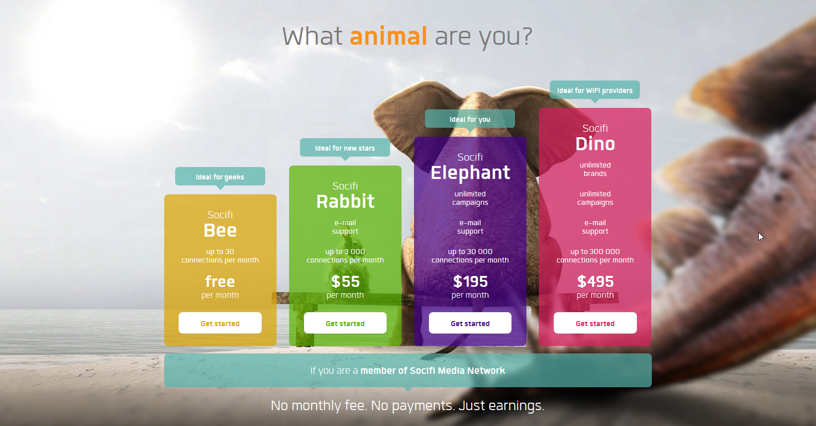 Great pricing table, the bigger the plan the bigger the box, also nice uses of colour & imagery.