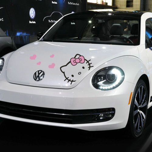 1pcs Cute Hello Kitty Cartoon Car Motors Hood Vinyl Decal Sticker New Pink Heart